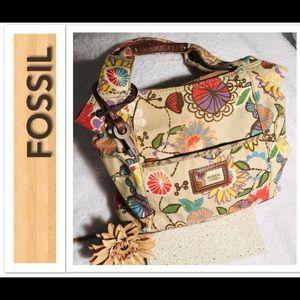 FOSSIL Floral Canvas Handbag